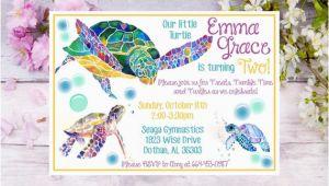 Sea Turtle Birthday Invitations Sea Turtle Birthday Invitation Watercolor Sea Turtle Birthday
