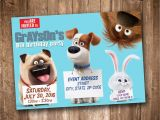 Secret Life Of Pets Birthday Party Invitations Secret Life Of Pets Party Invitation Personalized Digital