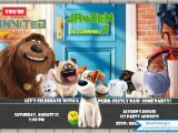 Secret Life Of Pets Birthday Party Invitations the Secret Life Of Pets Birthday Invitation the Secret