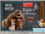 Secret Life Of Pets Birthday Party Invitations the Secret Life Of Pets Movie Birthday Invitations