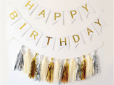 Self Inflating Happy Birthday Banner Card Factory White Happy Birthday Banner with 3 tone Tassel Diy Package