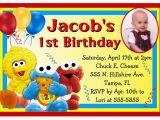 Sesame Street 1st Birthday Photo Invitations Baby Sesame Street Elmo Birthday Party Invitations W Photo