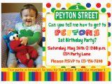 Sesame Street 1st Birthday Photo Invitations Sesame Street Birthday Invitation Primary Colors Custom