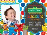 Sesame Street 1st Birthday Photo Invitations Sesame Street Birthday Party Invitation by Prettypaperpixels