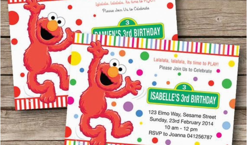 Sesame Street Birthday Party Invitations Personalized Elmo