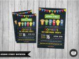 Sesame Street Birthday Party Invitations Personalized Sesame Street Invitation Personalized by Redapplestudio