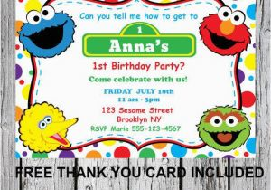 Sesame Street First Birthday Invitations Printable Invitation Diy Elmo