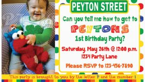 Sesame Street First Birthday Invitations Sesame Street Birthday Invitation Primary Colors Custom