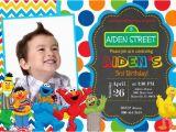 Sesame Street First Birthday Invitations Sesame Street Birthday Party Invitation by Prettypaperpixels
