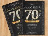 Seventy Birthday Invitations 70th Birthday Invitation Black and Gold Diamond Number