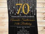 Seventy Birthday Invitations Black and Gold 70th Birthday Invitations by Diypartyinvitation