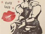Sexy Birthday Card for Women Sexy Foxy Lady Pin Up Happy Birthday Handstamped by