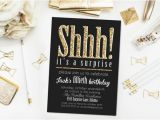 Shhh Birthday Invitations Shhh It 39 S A Surpise Party Invitation Gold Glitter by