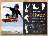 Skateboard Birthday Invitations Skateboard Birthday Invitation Boy Skating theme Party