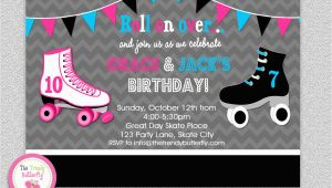 Skating Rink Birthday Invitations Siblings Roller Skating Birthday Invitation by