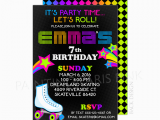 Skating Rink Birthday Party Invitations Neon Roller Skating Birthday Party Invitation