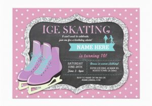 Skating Rink Birthday Party Invitations Pink Ice Skating Birthday Party Rink Skate Invite Zazzle