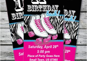 Skating Rink Birthday Party Invitations Roller Skating Zebra Print Birthday Party Invitation