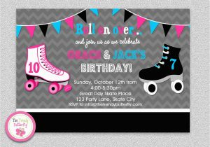 Skating Rink Birthday Party Invitations Siblings Roller Skating Birthday Invitation by