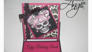 Skull Birthday Cards Scrappin Memories Skull Girl Birthday Card