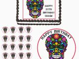 Skull Birthday Decorations Mexican Skull Day Of Dead Edible Birthday Party Cake