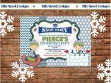 Sledding Birthday Party Invitations Boy Snow Tubing Winter Birthday Party Invite From