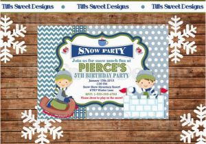 Sledding Birthday Party Invitations Boy Snow Tubing Winter Birthday Party Invite From