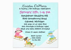 Sledding Birthday Party Invitations Custom Sledding Party Birthday Invitations Zazzle