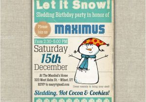 Sledding Birthday Party Invitations Items Similar to Sledding Birthday Party Invitation Kids