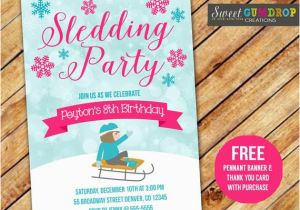 Sledding Birthday Party Invitations Items Similar to Sledding Party Pink Birthday Invitation