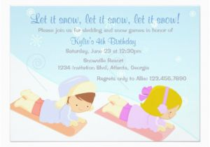 Sledding Birthday Party Invitations Kids Sledding and Snow Games Winter Birthday Party Card