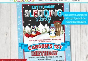 Sledding Birthday Party Invitations Penguin Sledding Birthday Party Invitation Snow Birthday