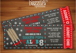 Sledding Birthday Party Invitations Printable Chalkboard Sledding Ticket Birthday Invitation