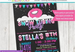 Sledding Birthday Party Invitations Snow Tubing Birthday Party Invitation Sledding Party Snow