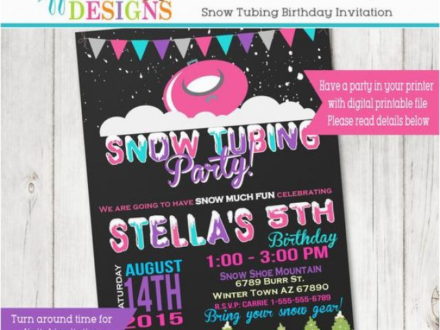 Sledding Birthday Party Invitations Snow Tubing Birthday Party