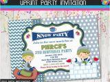 Sledding Birthday Party Invitations Winter Party Invitation Sledding Snow Invite Custom