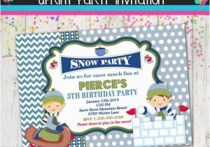 Sledding Birthday Party Invitations Winter Party Invitation Sledding Snow Invite Custom