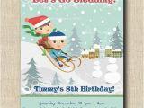 Sledding Birthday Party Invitations Winter Sledding Birthday Party 12 Printed by