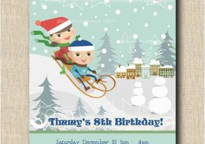 Sledding Birthday Party Invitations Winter Sledding Birthday Party 12 Printed by