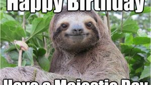 Sloth Happy Birthday Meme Happy Birthday Have A Majestic Day Stoned Sloth Quickmeme