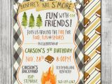 Smores Birthday Party Invitations Boy Camping Invite Bonfire By