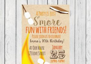 Smores Birthday Party Invitations S 39 Mores Invitation Digital File By Emmasuebowtique