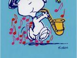 Snoopy Birthday Cards Free Snoopy Playing Sax Sunrise Greetings Peanuts Blank Card