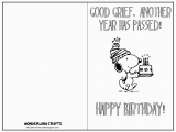 Snoopy Printable Birthday Cards Wonderland Crafts Template