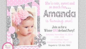 Snowflake 1st Birthday Invitations Winter Wonderland Birthday Invitation Silver Pink Winter