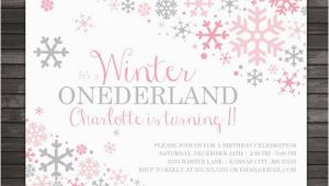Snowflake Birthday Invitations Printable Winter Onederland Invitation Printable Pink Gray Winter
