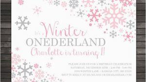 Snowflake Birthday Invitations Printable Winter Onederland Invitation Printable Pink Gray Winter