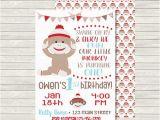 Sock Monkey First Birthday Invitations 1st Birthday Invitation sock Monkey Invitation by Mkellydesign