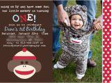 Sock Monkey First Birthday Invitations Eat Drink Pretty Real Party A sock Monkey First Birthday