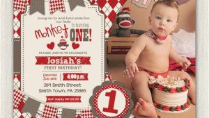 Sock Monkey First Birthday Invitations First Birthday Invitation sock Monkey Invite Boys Red